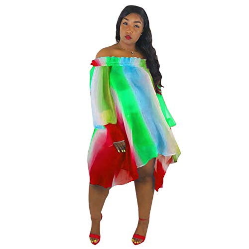 (Halfword Women's Summer Swing Dress Off Shoulder Long Sleeve Stripes Casual Party Dress Green)