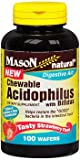 Mason Vitamins Natural Chewable Acidophilus with Bifidus Wafers Strawberry - 100ct