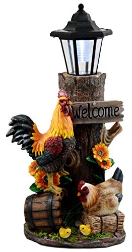 Country Farm Rooster Hen Chicks Family by Sunflowers Solar Light Lantern Statue Figurine #EB06