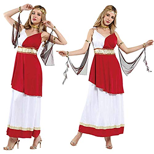 Women's Greek Goddess Costume - Glamorous Look - Fun for Costume or Theme Parties - Ruby Red and White Toga Dress with Gold Accents - Size Medium