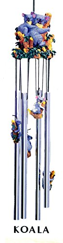Fdc Bear - Koala Bear Family Colorful 3d Poly Resin Top 4 Tube Wind Chime Outdoor Decor 24 Inches