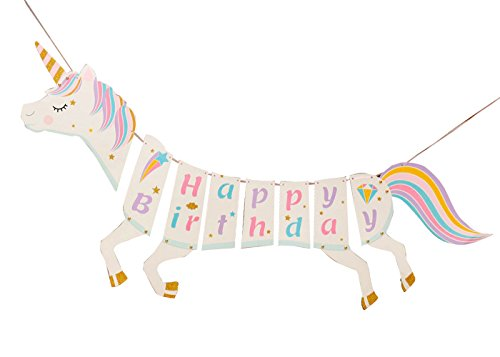 Unicorn Happy Birthday Banner, Unicorn Banner for Baby Shower, Girls Birthday Party Decorations - Premium Magical Pastel Design with Sparkle Gold Glitter, Cute and Easy to Assemble (1L Unicorn)