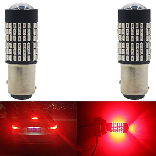 AMAZENAR 2-Pack 1157 BAY15D 9V-30V Red Extremely Bright 600 Lumens 3014 144 SMD LED with Projector - Replacement 1016 1034 7528 2057 2357 for Tail Brake Light LED Bulb ()