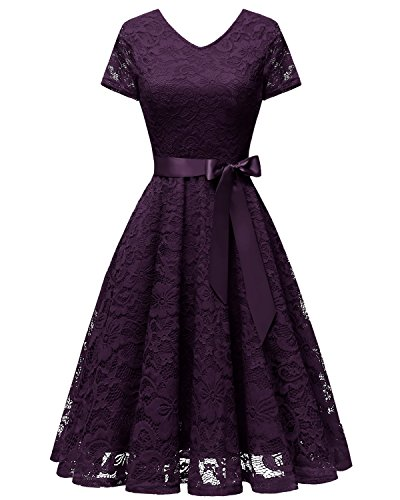 Bridesmay Women V Neck Floral Lace Cocktail Party Bridesmaid Dress with Sleeves Grape -