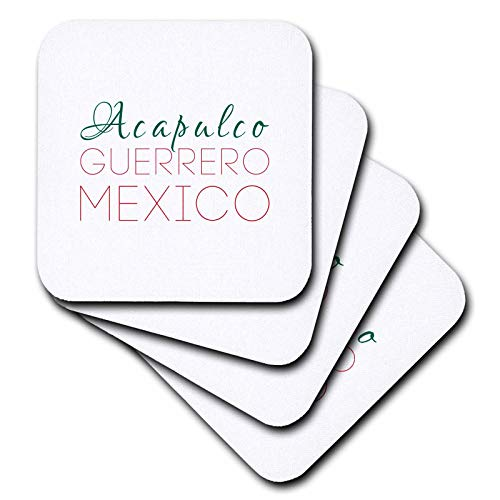 3dRose Alexis Design - Mexican Cities - Acapulco, Guerrero, national colors patriot Mexico home town design - set of 8 Coasters - Soft (cst_311591_2) (Acapulco Furniture)