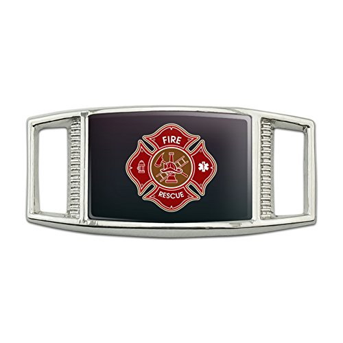 Firefighter Fire Rescue Maltese Cross Rectangular Shoe Shoelace Shoe Lace Tag Runner Gym Charm Decoration