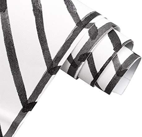 HaokHome 96020-1 Modern Stripe Peel and Stick Wallpaper Herringbone Black White Vinyl Self Adhesive Decorative 17.7in x 9.8ft