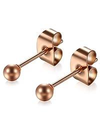 Flongo Men's Women's 3-8mm Stainless Steel Silver Bead Ball Charm Elegant Stud Earrings