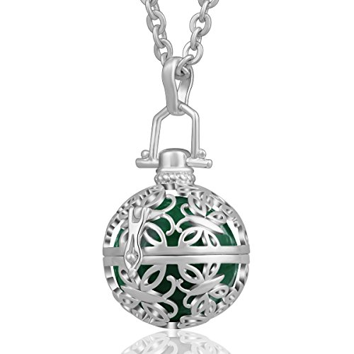 AEONSLOVE Silver Retro Chime Bell Harmony Ball Necklace Cage Pendant for Women, 30'' Long Chain -