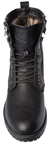 Lining up Black Boots Fleece Warm Shoes Fellini Weather Cold Lace Winter PU Alberto Mens Leather wtHqxYC8w6