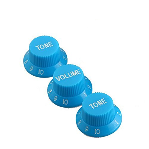 Musiclily Metric 1 Volume and 2 Tone Control Knobs Set for Strat Style Guitar, Blue (Best Strat For Blues)