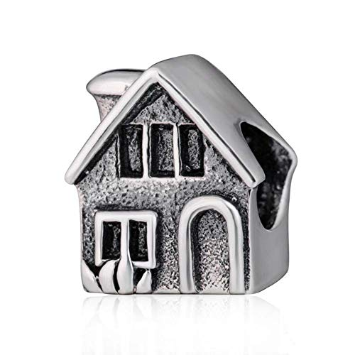 Home Charm 925 Sterling Silver Family Charm House Charm for DIY Charms Bracelet (B) (Charm House Silver Sterling)