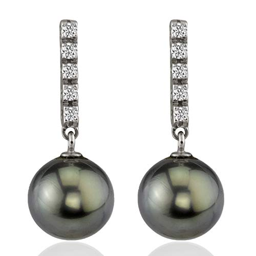 14K White Gold 0.20ct tw Diamonds AAA Quality 10mm Round Tahitian South Sea Cultured Pearl Dangle Earrings for Women
