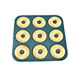 2Pcs Large Donut Pan for Baking 9 Cavity Non-Stick Bagel Pan Silicone Donut Mold BPA Free 11.2 x 11.1 Inches - FUNLAVIE