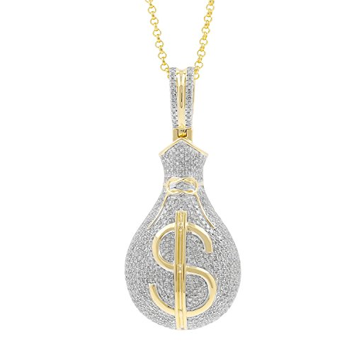 2.90ct Diamond Dollar Sign Money Bag Mens Hip Hop Pendant Necklace in Yellow Gold Over 925 Silver by Isha Luxe-Hip Hop Bling