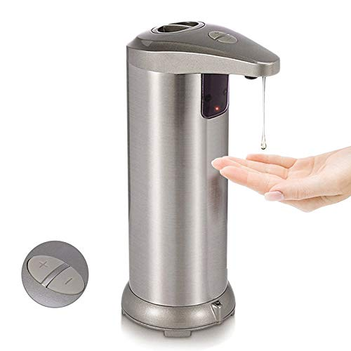 MISCORP Automatic Soap Dispenser 280ML Stainless Steel Countertop Touchless Sensor Soap Hand Free Motion Sensor with Waterproof Base for Kitchen Bathroom