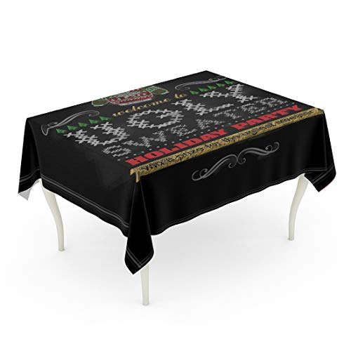 Tarolo Rectangle Tablecloth 52 x 70 Inch Chalkboard Chalk Drawn Christmas on Ugly Sweater Holiday Party Merry Vintage Congratulation Table Cloth