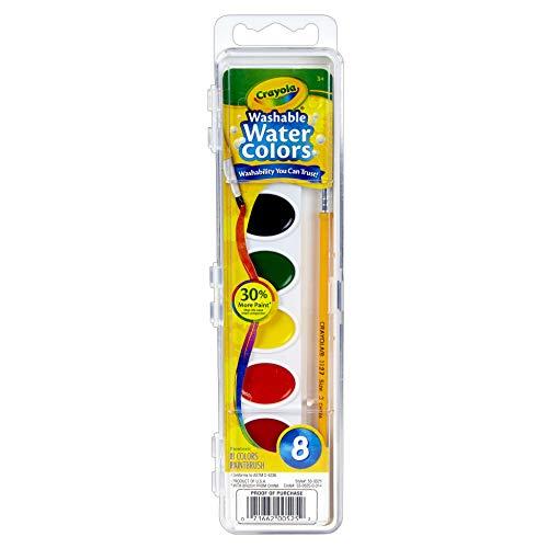 - Crayola BIN525BN Semi-Moist Washable Watercolor Set, 8 Colors Per Set, 6 Sets