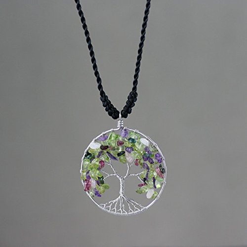 - NewDreamWorld Tree of Life Necklace-Sterling Silver Tree of Life Pendant-Amethyst/Olivine/Tourmaline/Rose Quartz Gemstone Mixed