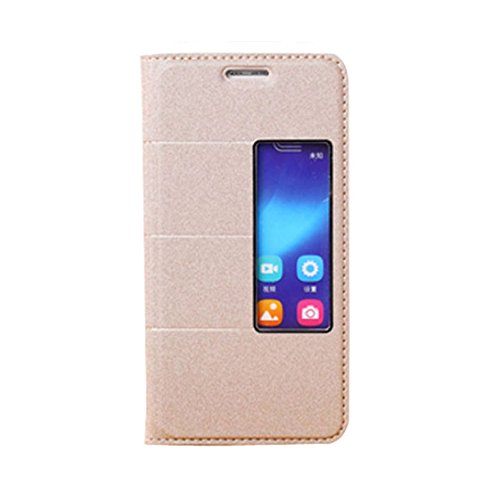 TOOPOOT(TM) Flip Stand Magnetic Leather Cover Skin Case For Huawei Honor 6 (Gold)