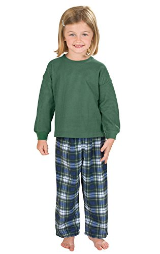PajamaGram Classic Flannel Tartan Plaid Pajamas with Thermal Top, Green, 4T