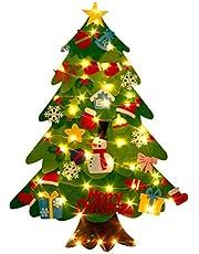 Newooh Árvore de Natal de feltro para crianças pequenas, faça você mesmo, árvore de Natal, boneco de neve, árvore de Natal macia com ornamentos e cordão de luz