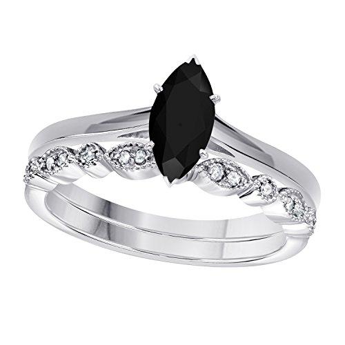 Gems and Jewels 1.00 Ct Marquise Shape & Round Cut Black CZ Diamond & White CZ Diamond 14k White Gold Plated Art Deco Vintage Design Wedding Bridal Set Engagement Ring