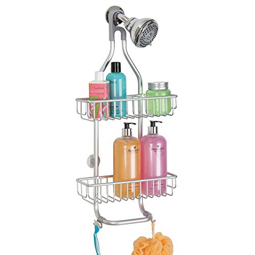 InterDesign Metro Rustproof Aluminum Shower Caddy – Bathroom Storage Shelves for Shampoo, Conditioner and Soap, Silver