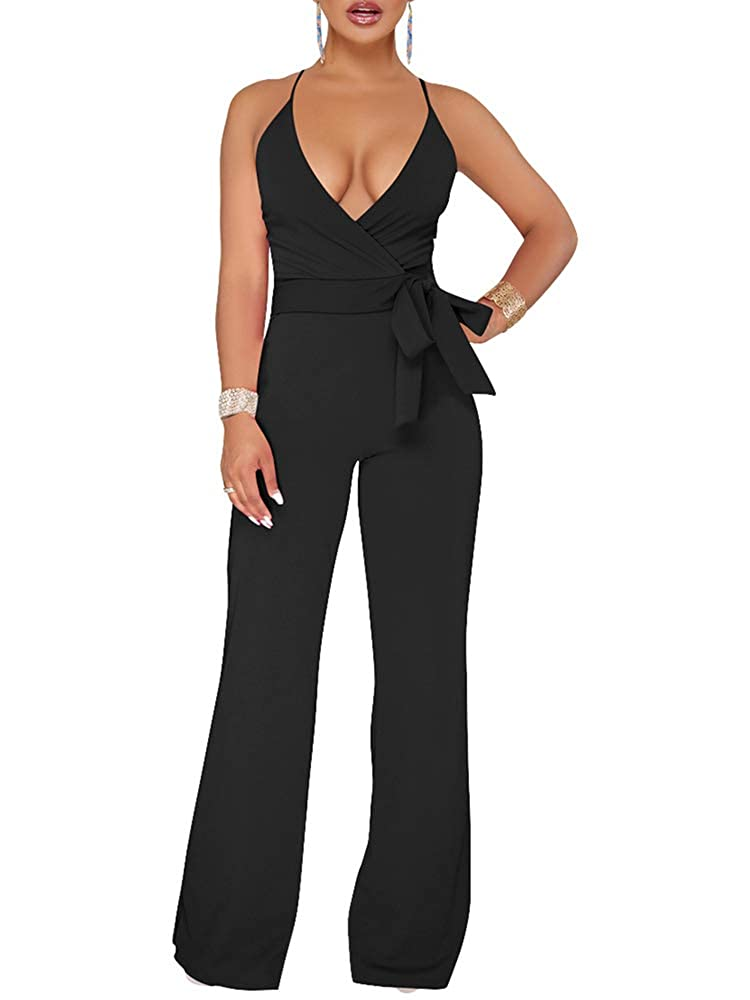 Black Liyuandian Womens V Neck Wide Legged High Waisted Knot Rompers and Jumpsuits