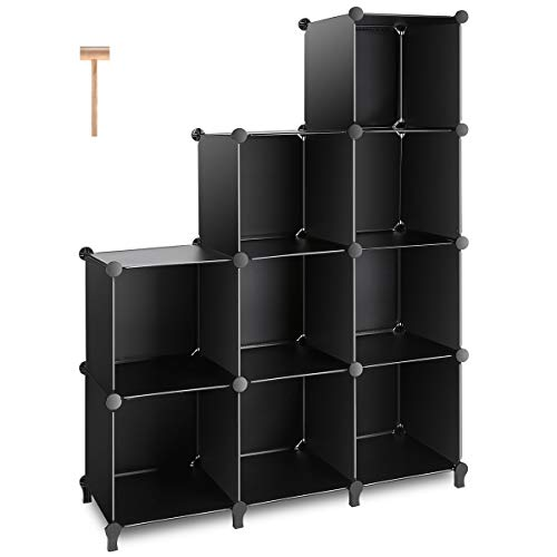(TomCare Cube Storage 9-Cube Closet Organizer Shelves Plastic Storage Cube Organizer DIY Closet Organizer Storage Cabinet Modular Book Shelf Shelving for Bedroom Living Room Office, Black)