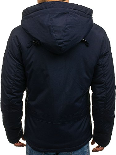BOLF Bomber Basic Men's Plain Transitional Casual 1786 Sport Ribbed Hood Blue Jacket Zip Mix Quilted Navy 4D4 rrX0wq