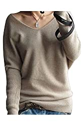 Liny Xin Women S Loose Batwing Sleeve Big V Neck Pullover Cashmere Wool Sweater Tan Xxl