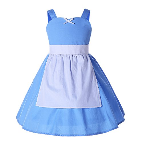 Pettigirl Girls' Costume Solid Halloween Party Maid Fancy Dress With Apron 130