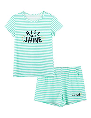 Summer Pajamas for Girls - Green Stripe & Glittering PJS Pal Cute Jammies Set Big Kids Size 16