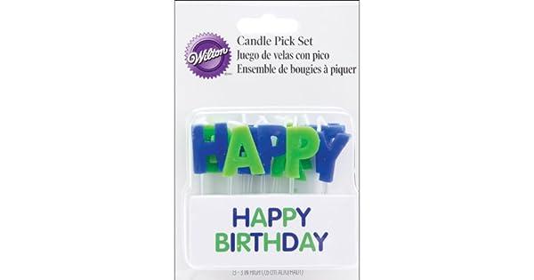 Amazon.com: Wilton – Feliz cumpleaños Vela Picks en azul, 13 ...