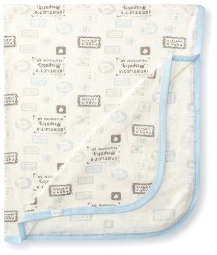 UPC 809523052271, Coccoli Baby-Boys Newborn Postage Stamp Blanket, Blue/Cream, One Size
