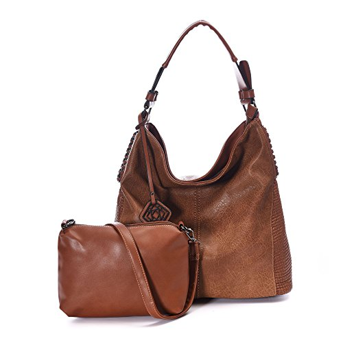 (DDDH Women Handbags Hobo Shoulder Bags Tote Leather Handbags Fashion Large Capacity Bags (Brown New))