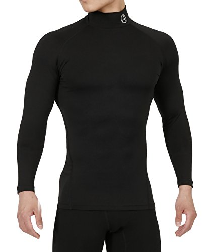 10STAR11 ARMEDES Men's Compression Unique Cool Dry Baselayer Fitted Exercise Mock Long Sleeve T-Shirt Black,M