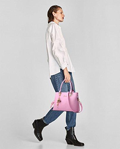 donna Tote Sdinaz spalla Borsa a a Bag Rosa monocromatica moda tracolla W0Sq1SwHa