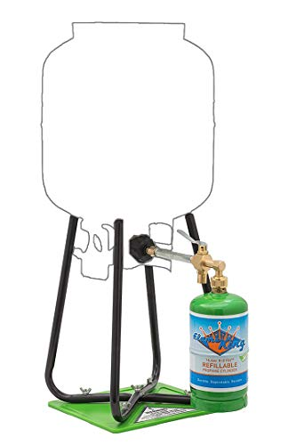 Flame King Refillable 1 lb Empty Propane Cylinder Tank - with Refill Kit and CGA600 Connection - Reusable - Safe and Legal Refill Option - DOT Compliant - 16.4 oz, Green
