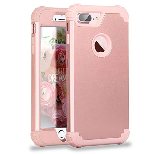 (iPhone 7 Plus Case, MCUK 3 In 1 Hybrid Best Impact Defender Cover Silicone Rubber Skin Hard Combo Bumper with Scratch-Resistant Case For Apple iPhone 7 Plus (2016) (Rose Gold) )