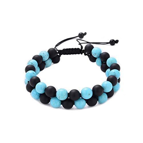 Turquoise Beaded Watch - Mens Bracelet 2 Layer 8mm Stone Bead Bracelet Men Fashion Jewelry Handmade Adjustable Size (Matte Black Onyx & Turquoise)