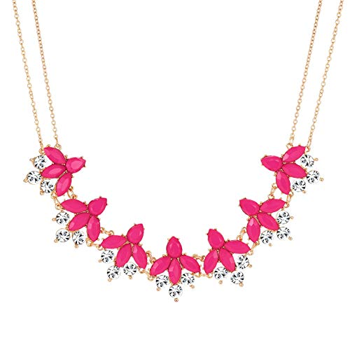 LIAO Jewelry Crystal Flower Collar Necklace for Women Chunky Rhinestone Floral Bib Statement Choker Necklace (Rose red)