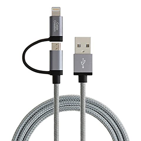 [Apple MFi Certified] CableCreation 2-in-1 Lightning to USB Data Sync Charge Cable, Lightning Micro USB 2-in-1 Cable for iPhone 6 6S 6Plus iPad Air mini Samsung & More,Gray - 2 Micro Usb