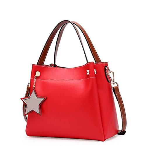 Red Handle Purses Para Bolso Cuero Black Satchels Tote Mujer color Pollusui Top Bandolera Genuino De q0Xdwg06