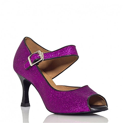Purple W104 Women's Heel Peep Buckle Chunky Shoes Shoes Ballroom Pumps Toe Shoesland PRwZZ