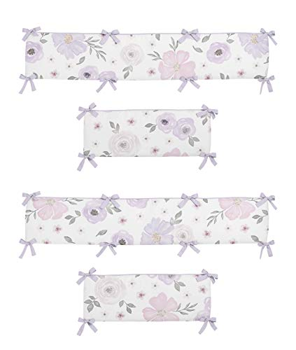 Sweet Jojo Designs Lavender Purple, Pink, Grey and White Shabby Chic Baby Crib Bumper Pad for Watercolor Floral Collection - Rose Flower