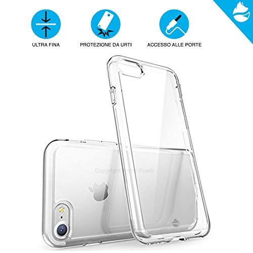 ARCTIC FOX Case Cover Custodia Trasparente Ultra Fina Morbida Sottile + Pellicola Protettiva In Vetro Temperato Screen Protector Glass Trasparente Proteggi Display HD Durezza 9H Anti Graffio Per Apple