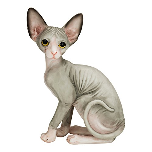 Willis Judd Sphynx Hairless Cat Hand Painted Statue Figurine - Statue Figurine Cat