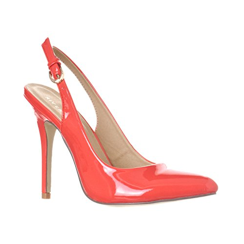 Riverberry Women's Lucy Pointed-Toe Sling Back Pump Stiletto Heels, Coral Patent, 7.5 - Leather Open Toe Slingbacks